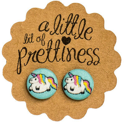 Fat Unicorn Retro Earrings Fabric Covered Button Stud Earrings Surgical Steel