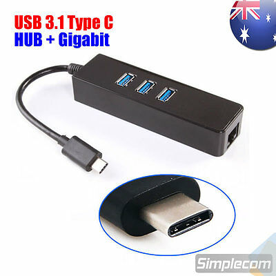 USB 3.1 Type C to HUB 3 Port with RJ45 Gigabit Ethernet Adapter 3.0 USB-C PC MAC