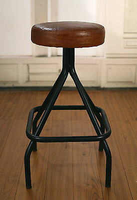 Ex-Display Stool Leather Top French Provincial Industrial Metal Base Bar Stool