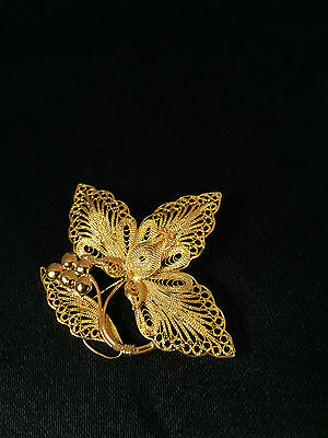 Sterling Silver Gold Plated Filigree Three Petal Leaf with Stem and Grapes Pin