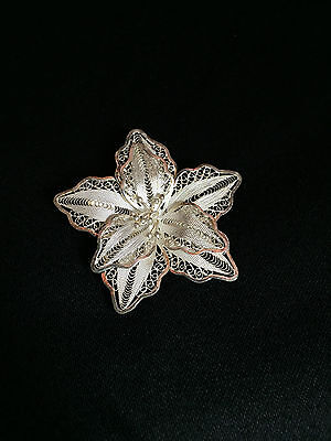 Sterling Silver Filigree Star Fish Shaped Flower with Five Petals Pin
