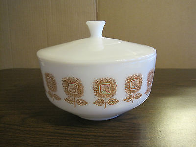 2 1/2 Qt. Brown Sunflower Milk Glass Bowl With Lid