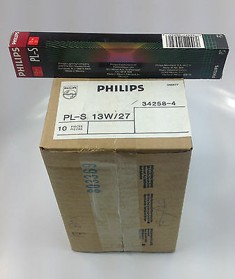 Pack Of 10 Phillips Compact Fluorescent Lamps Pl-S 13W/27   34258-4 - 2 Pins