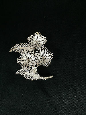 Sterling Silver Filigree Triple Flower with Petals & Stem Pin