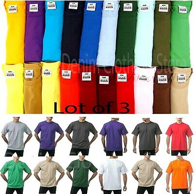 Pack Of 3 Pro Club Men's Blank Heavyweight Short Sleeve Crewneck T-Shirts S-10Xl