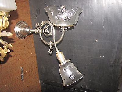 Antique As Found Silver Plated Gas & Electric Wall Sconce W/ Pressed Glass(3256)