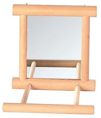 Mirror with Wooden Frame and 2 Landing Perches Bird Cage Budgie Canary Toy