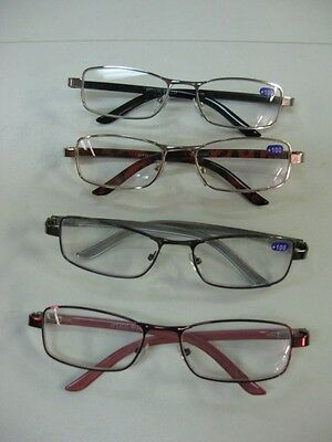 Spring Loaded Reading Glasses x 6 pairs:  +1.5  -  +3.0 Metal Frame plastic arms