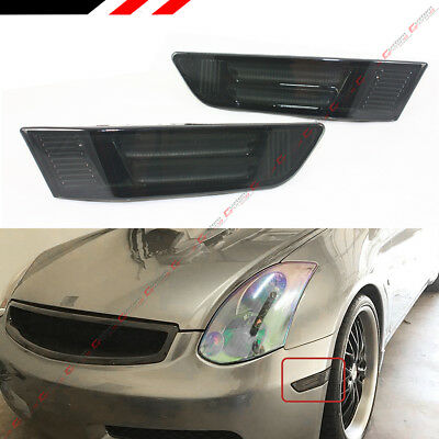 Fit 03-07 Infiniti G35 Coupe Smoked Lens Led Tube Bumper Side Marker Lamps Light