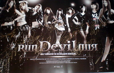 SNSD Girls'Generation Autographed  Run Devil Run Poster