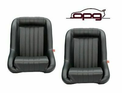 Classic Low Back Pu Leather Bucket Seats Car - Fixed Back - Black - Hot Rod Pair