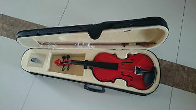 Student Acoustic Violin Size 3/4 Maple Spruce with Case Bow Rosin Red Color