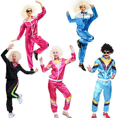 Mens Womens 80s Height Fashion Scouser Tracksuit Shell Suit Costume Fancy Dress