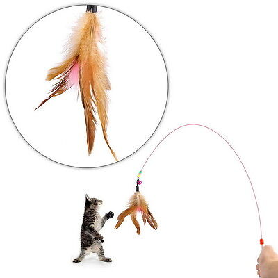 Kitten Cat Pet Toy Wire Chaser Wand Teaser With Bell Beads Play Fun GA