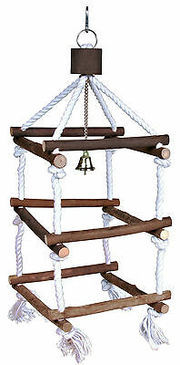 Large Wooden Tower & Bell Bird Swing Cockatiels Parakeet Bird Perch on Rope 51cm