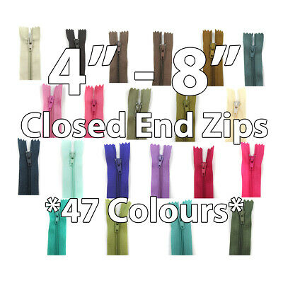 "Closed End Nylon Zippers 4"" 5"" 6"" 7"" 8"" *47 Colours* Sewing No;3 Zip Cushion"
