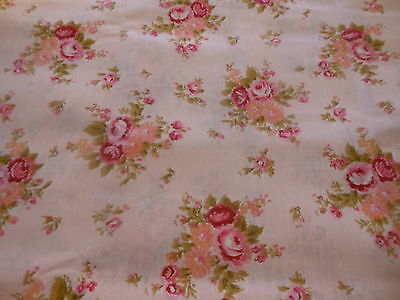 Vintage French Shabby Cottage Roses Cotton Fabric ~ Pink Melon Olive