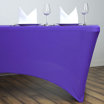 1 pc 5 ft PURPLE RECTANGLE SPANDEX STRETCH TABLE COVER Fitted Tablecloth SALE