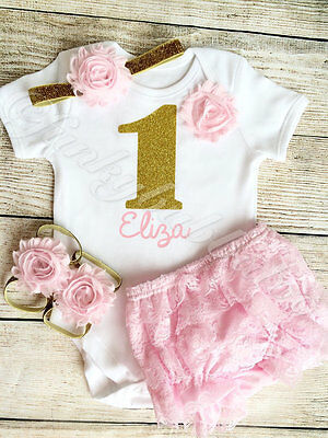 Personalised 1st First Birthday Baby Girl Outfit Pink & Gold Cake Smash Bloomers