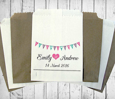 Personalised Wedding Sweet Bags BUNTING BIRDS Candy Cart Wedding Favours Confett
