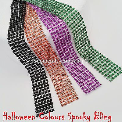 HALLOWEEN BLING RIBBON SPARKLY Sugarcraft Cake SPOOKY orange craft mesh SILVER