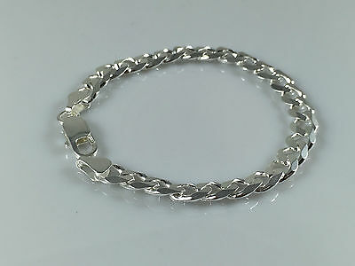 SOLID 925 STERLING Silver Flat Curb Chain Mens Necklaces