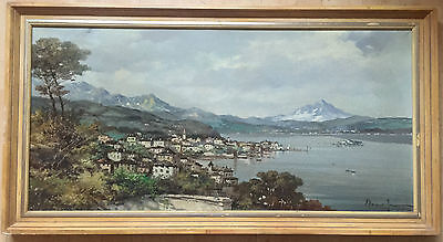 MARIANO MORENO (ITALIAN 1912 - 1990) large oil painting on canvas signed framed