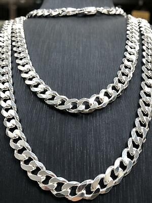 Solid 925 Sterling Silver Mens Chain Necklace Flat Curb Italian Style Heavy 7MM