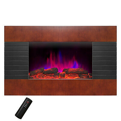 "36"" Tempered Glass Black Wall Mount Log & Pebble 2-in-1 Electric Fireplace Stove"