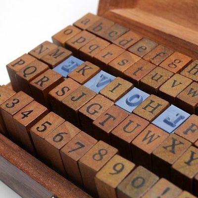 1 INKPAD+Set of 70pcs Vintage Style Wooden Rubber Alphabet Letters Number Stamps