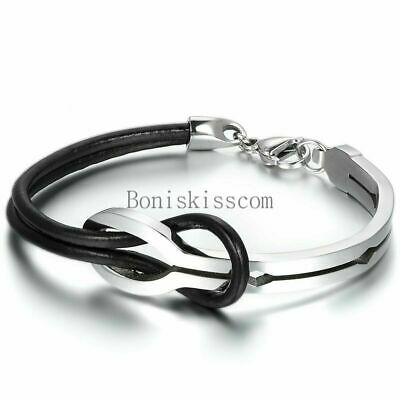 Love Infinity Stainless Steel Buckle Men Women Leather Bracelet Cuff Bangle