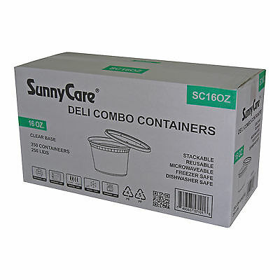 SunnyCare® 16 oz.Microwavable Translucent Plastic Deli Container with Lid 250/CS