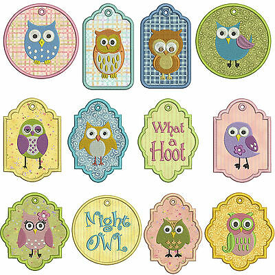 In-The-Hoop TAGS * OWLS 1 * Machine Applique Embroidery Patterns * 12x 2 sizes