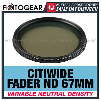 Citiwide Variable ND 67mm Neutral Density ND2-ND400 Fader Hoya Camera Filter