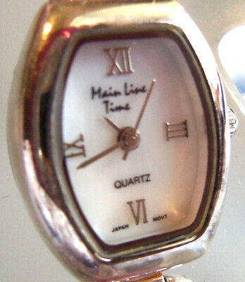 Main Line Time Sterling Silver Genuine Pinkish Stone Watch Unworn Nice