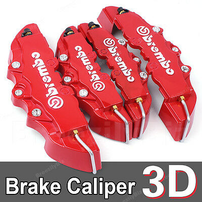 4 Pcs Brembo Style 3D Disc Set Front Rear brake Calipers Cover Kit Red B06