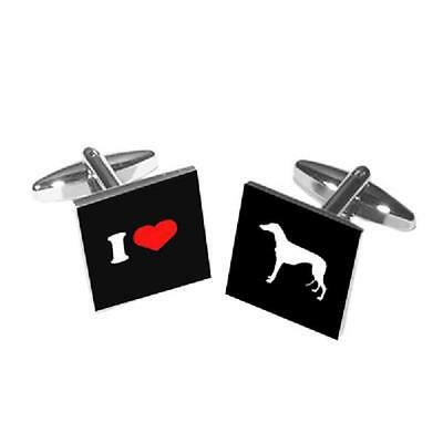 I Love Greyhounds Dog Owner Walker Trainer Christmas Birthday Present CUFFLINKS