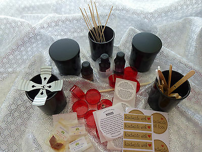 1.5k Soy Wax Candle Kit 6 Opaque Black Jars & all you need READ descript. please