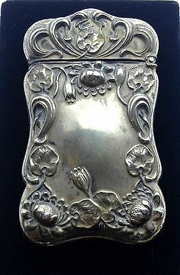 Vesta Case Antique Art Nouveau F.S. Gilbert USA Match case c1890 Sterling silver