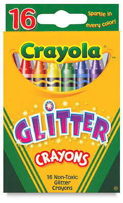 16 Crayola Glitter Crayons - Non Toxic Assorted colors Wax Crayons - FREE SHIP