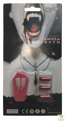 VAMPIRE FANGS Teeth with Blood Halloween Werewolves Fright Fang Party Costume