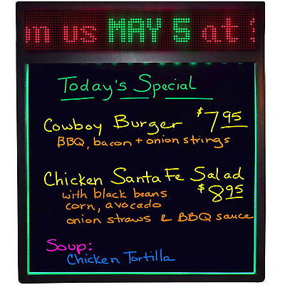 New Lighted 7 Color Erasable Menu Board with Digital Programmable Message Sign