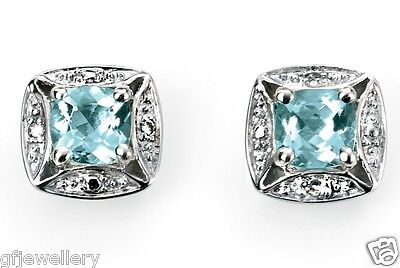 9Ct Hallmarked White Gold Cushion Cut Aquamarine & Diamond Halo Stud Earrings