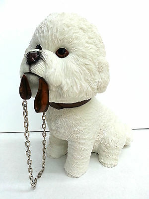 Bichon Frise Sitting with Chain Dog Ornament Figurine Statue New Boxed