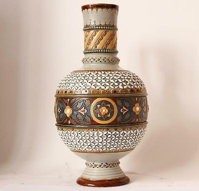 Antique Mettlach Villeroy and Boch Etched and Mosaic Handled Vase #1772 ca.1907