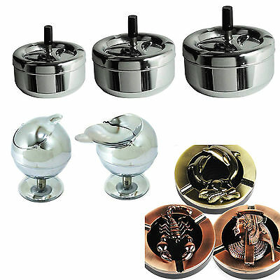 Amazing Stainless Steel Ashtray Cigarette Ashtray Odour Free Spinning Ashtray