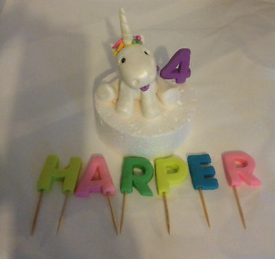 10cm Edible Unicorn 3D Name, Age Fondant Cake Topper white Rainbow Gold Black