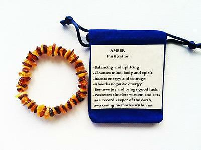 Baltic Amber Bracelet Multi Coloured Natural Chip Bead Stretch Healing AB3