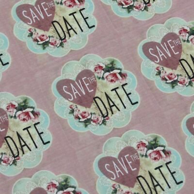 Save the Date Pink Floral Square Stickers x 30 Wedding Engagement Party