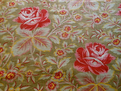 Antique French Lovely  Roses Floral Cotton Fabric ~Pink Red Mustard Brown
